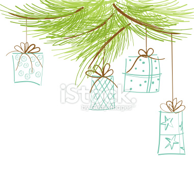 stock-illustration-21641843-sketchy-pine-branch-and-hanging-gifts 1